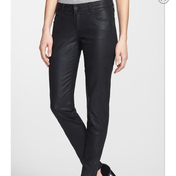 Kut from the Kloth Denim - Kut Mia Toothpick Houndstooth Black Jeans